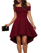 Elegant Party Dresses 2018 Burgundy All The Rage Slash Neck Off Shoulder  Skater Dress Formal High Low Dresses wholesale 0f695882b7d3
