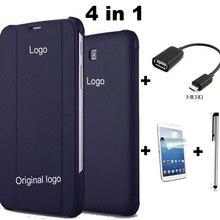 Tab4 T230 Caso de Cuero de LA PU Del Soporte Del Tirón Funda para el Samsung Galaxy Tab 4 7.0 T230 T231 T235 + Film + Stylus + OTG