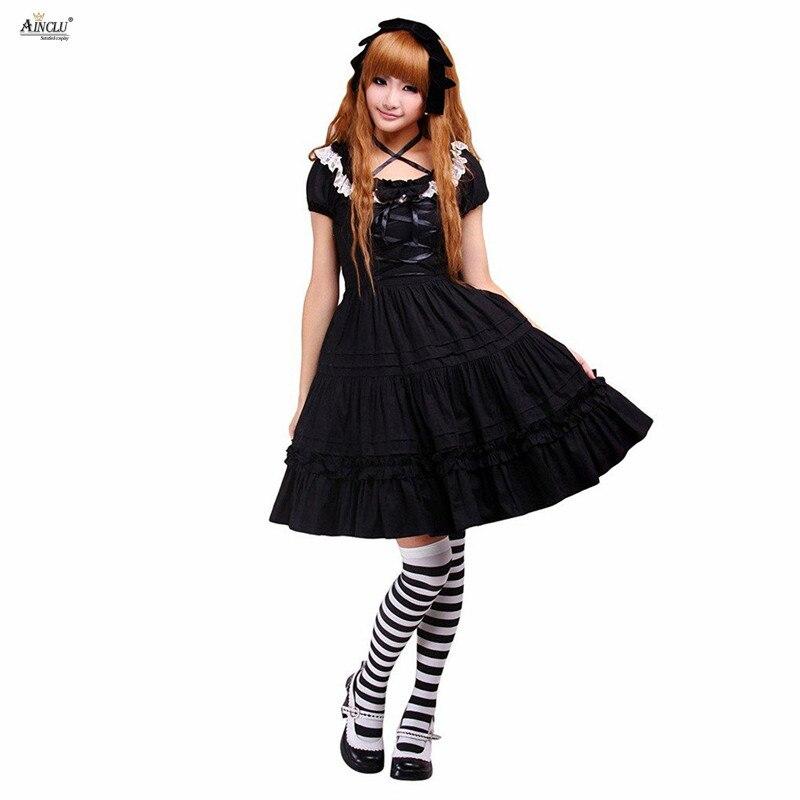 Haute qualité femmes Ainclu été coton noir dentelle classique Lolita robe décontracté/anniversaire/fête mi-longue robe XS-XXL
