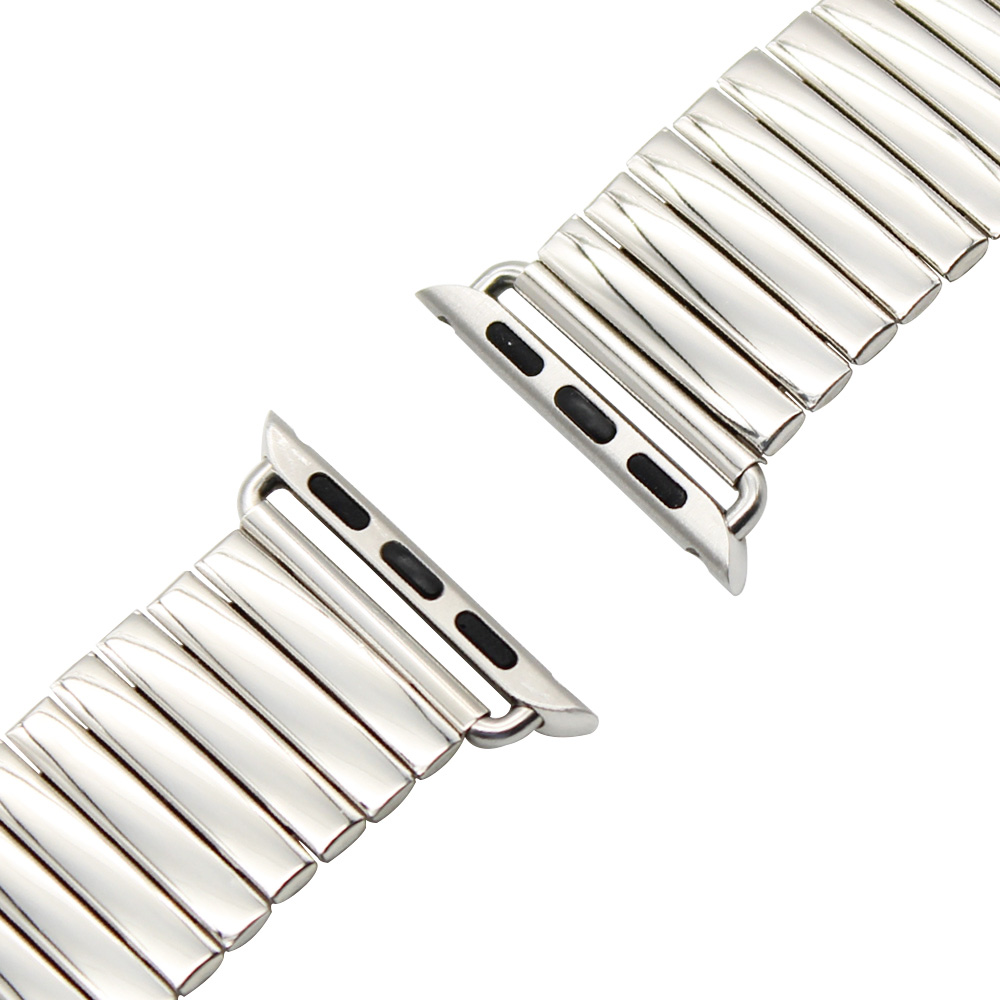 22mm 24mm Elastic Watchband for 38mm 42mm iWatch Apple Watch Bracelet Stainless Steel Band Strap with Link Connector Adapter
