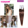 Connie Hair Products Skin Weft Extensions Peruvian Straight Virgin Hair Double Drawn Virgin Tape Hair Extensions