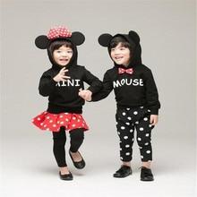2016 Mickey Minnie clothing girl boy kids spring autumn long sleeve casual hoodies sweatshirt 2pcs sets 3D bow pants or legging