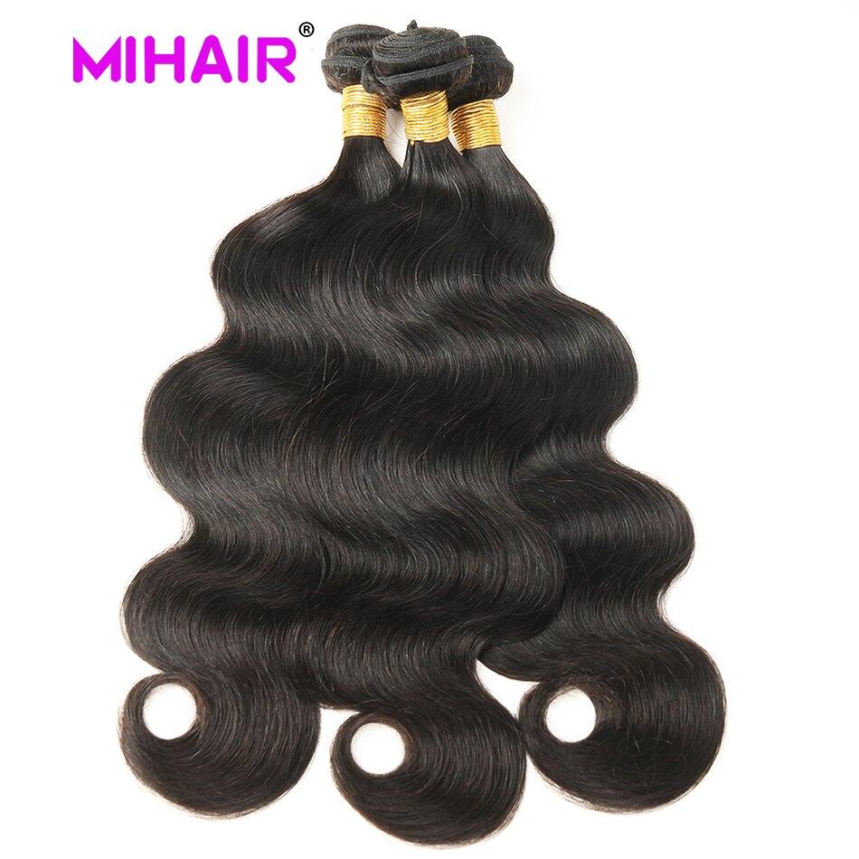 Indisk hårkroppsvåg Human Hair Bundles 1/3/4 Bundles Human Hair - Mänskligt hår (svart) - Foto 2