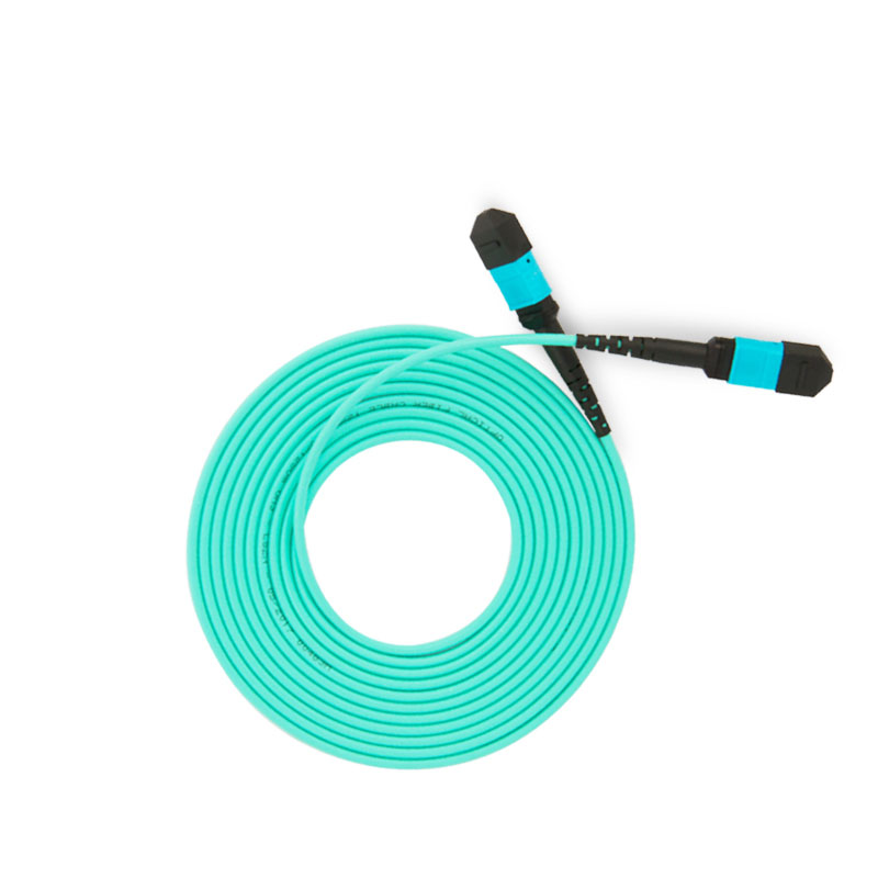 MPO-MPO 12 Core Fiber Optic Patch Cord Cable 10GB 50/125 OM3 Multimode Fiber Optic Cable, 3M
