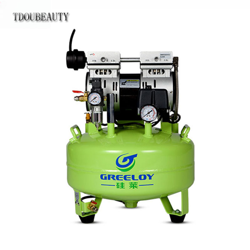 TDOUBEAUTY GA-61 dental Noiseless Oil Free Oilless Air Compressor Motors 24L Tank 600W One By One Dental Chair Free shipping tdoubeauty dental greeloy silent oil free air compressor ga 62 free shipping