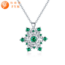 FYM high quality fashion snow flower shape 4 colors Necklace & Pendants Chain Necklace Jewelry for women christmas party fym high quality fashion snow flower shape 4 colors necklace