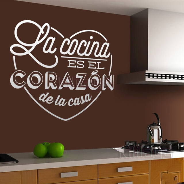 Wall Stickers Spanish Cocina Heart Vinyl Wall Mural Decal Kitchen - Vinyl decals for kitchen walls