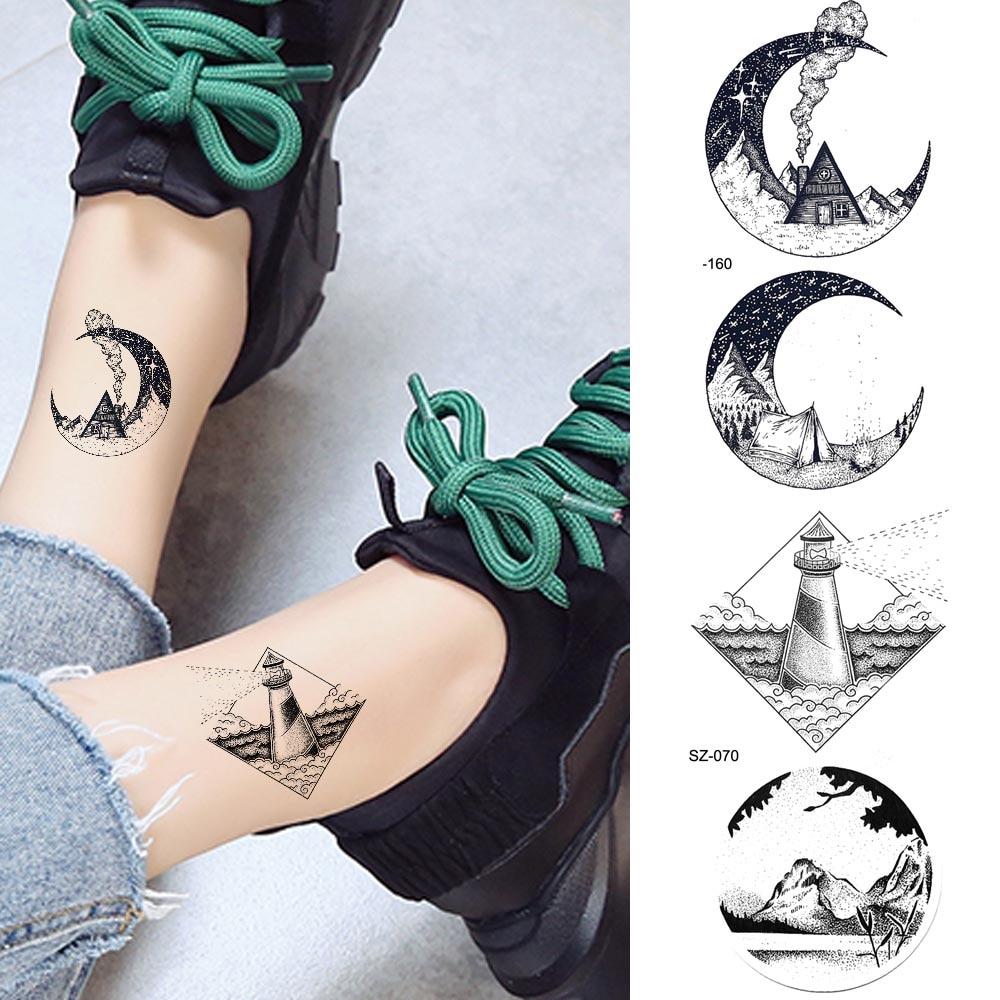 Black Small Moon Temporary Tattoo Stickers Women Arm Ankle Art Water Transfer Tatoos Geometric Lighthouse Peak Men Body Comping