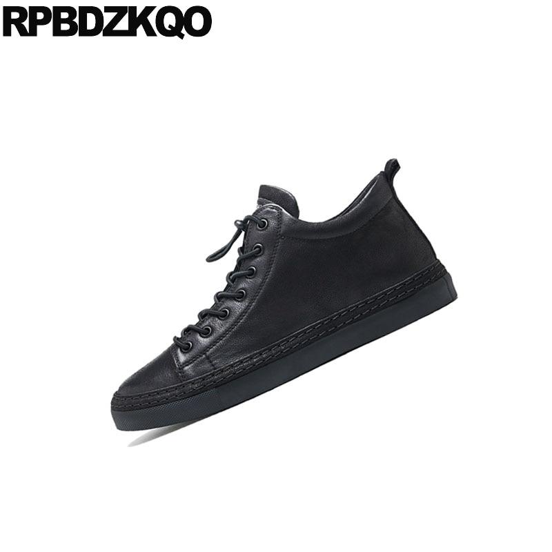 2018 Hommes Chaussures Noir Main Baskets Tendance D'hiver Piste Formateurs Cuir Décontracté De Confort À En Réel Véritable Marque Skate Européenne La vNP80wymnO