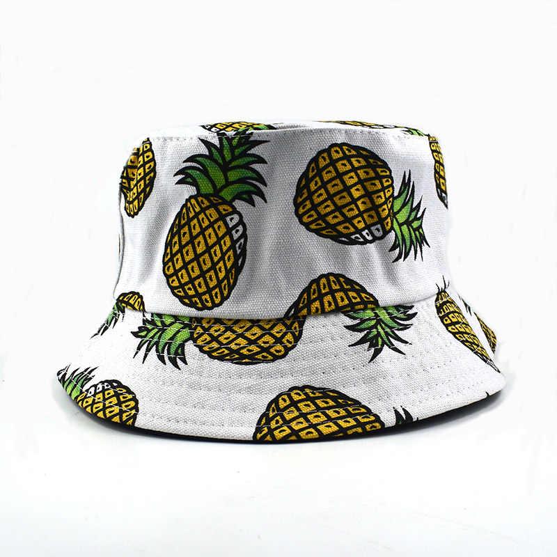 Unisex ananas drukowanie kapelusz typu bucket rybacy kapelusze odkryte czapki podróżne czapki na co dzień modna bawełniana cheapu kobiety niedz kapelusz hurtownia