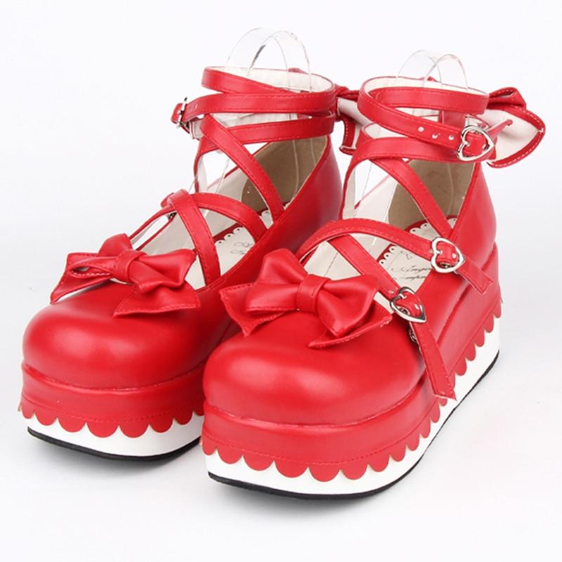 Female spring anime cosplay Princess lolita shoes women Wedges gladiator Sandals high heels leather platform shoes
