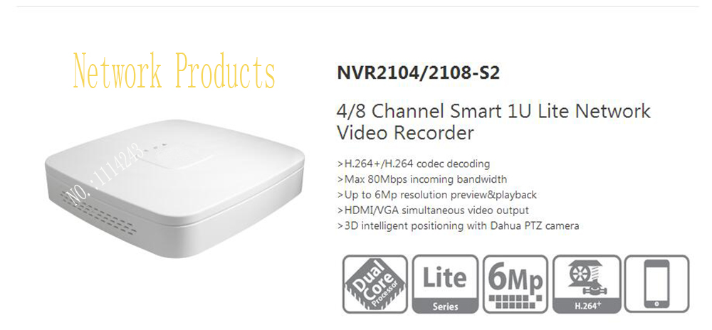 Dahua 4Channel Smart 1U Lite Network Video Recorder English Version H.264+/H.264 HD1080P Up to 6Mp Without Logo NVR2104-S2 ixfk66n50q2 to 264