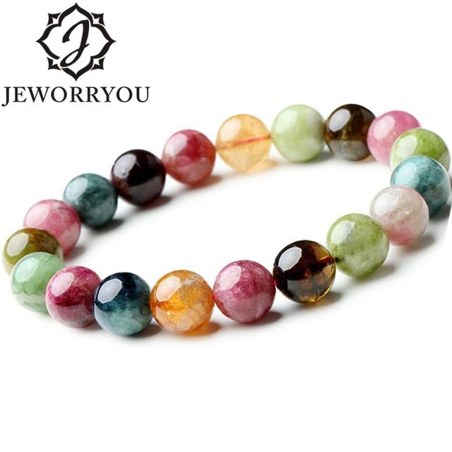 7 10mm Brazil Tourmaline Stone Bracelet Pinky Color Round Beads Womens Bracelets For S