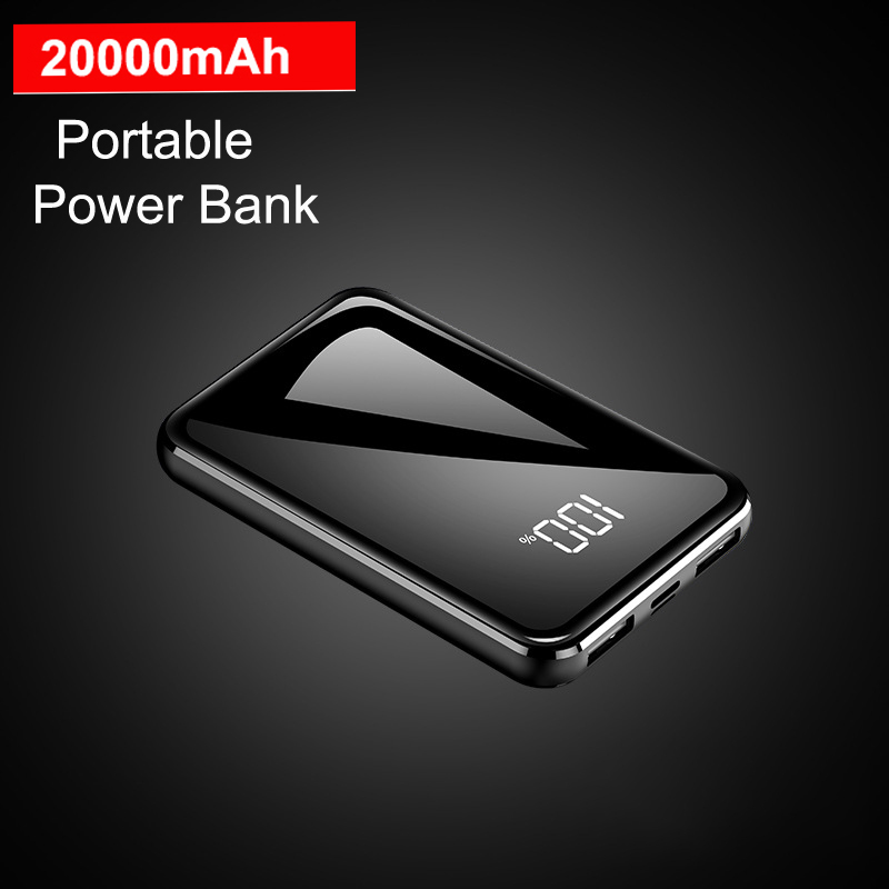 2.1A Fast Charging for xiaomi Mini Power Bank 20000mah Ultra Thin Mirror Screen Portable Charger Powerbank for iphone