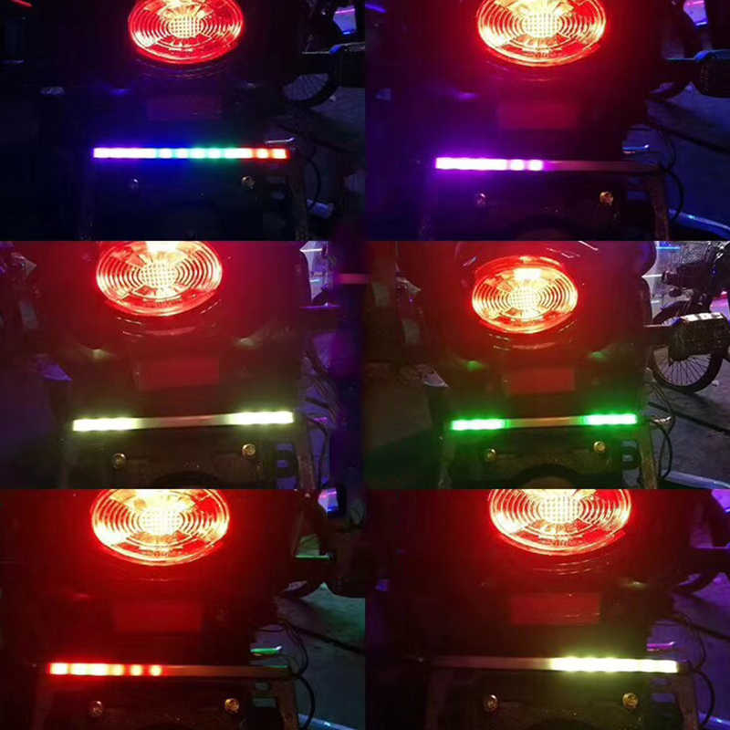 OKEEN 1pcs 23cm LED Stop Signal Strip Light for moto Motorcycle RGB Sequential Running ,Brake Tail Light Turn Signal Integrated