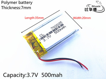 Liter energy battery 3.7V 500mAh 702035 Lithium Polymer Rechargeable Battery Accumulator Li ion lipo cell image