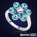 Crystal flower ring platinum plated Made With Swarovski Element fashion Affordable prices noble Jewelry Accessories wholesale
