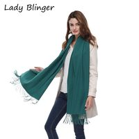 Lady Blinger new deep green cashmere scarf big size soft pashmina smooth faux cashmere shawl winter women pure color wraps