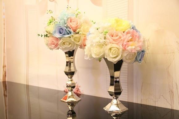 Vazo me lule argjendi, mbajtëse qirinjsh, pjesë kryesore e dasmave - Furnizimet e partisë - Foto 3