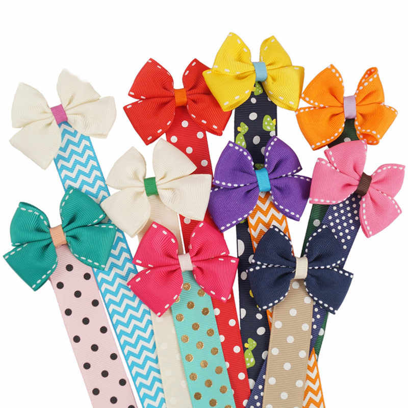 36 Colors Elephant Lovely 1PC Cartoon Dots Hair Bow Holder Long Handmade Hair Clip Organizer Animal Buterfly
