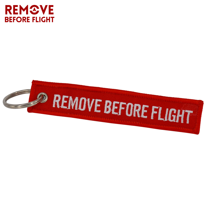 Remove Before Flight Key Chain Chaveiro Red Embroidery Keychain Ring for Aviation Gifts OEM Key Ring Jewelry Luggage Tag Key Fob2 (1)