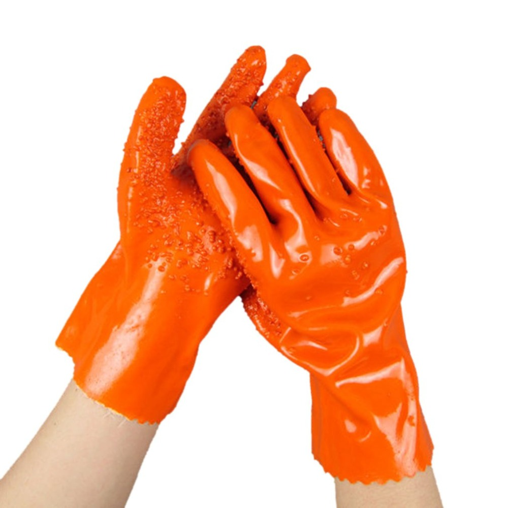 A Pair/Set Anti-Slip PVC Coated Working Gloves Oil Resistant Acid Resistant Chemical Safety Gloves for Industrial Work