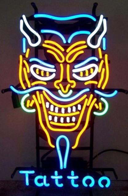 Custom Devil Tattoo Neon Light Sign Beer Bar