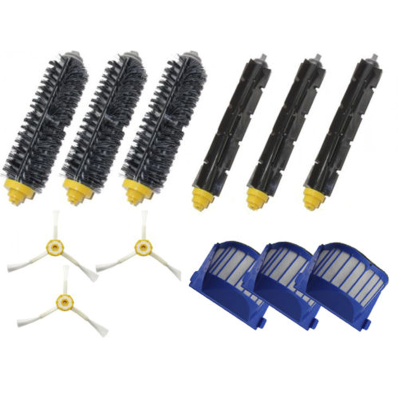 12PC  Brush 3 armed Aero Vac Filter kit for iRobot Roomba 600 Series 620 630 650 660 aero vac filter bristle brush flexible beater brush 3 armed side brush tool for irobot roomba 600 series 620 630 650 660