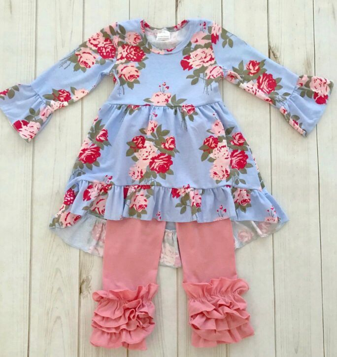 New Winter/Spring 2 Pieces rose flower print baby girls children outfits solid ruffle pants hot sell boutique clothing sets купить недорого в Москве