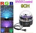 9 canais DMX512 controle Digital LED RGB cristal Magic Ball efeito de luz DMX Disco DJ Stage iluminação frete grátis