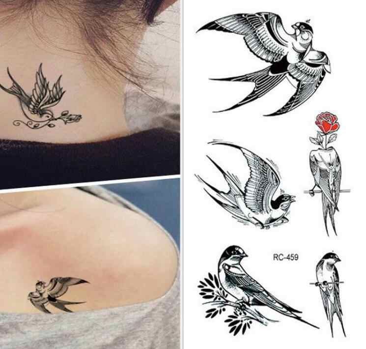 new tattoo stickers birds 10.5*6cm black fashion men women Swallows tattoo stickers