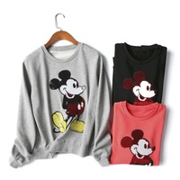 Fashion Sequins Sweatshirt Spring Autumn O Neck Long Sleeve Cotton Hoodies Mickey Beading Sweatshirt Women