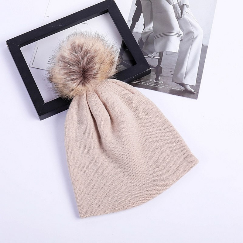 Fur Pompon Hat Winter Hat Female   Skullies     Beanies   Women Warm Cap Elasticity Knit   Beanie   Hats Children Fur Pom Pom Hats