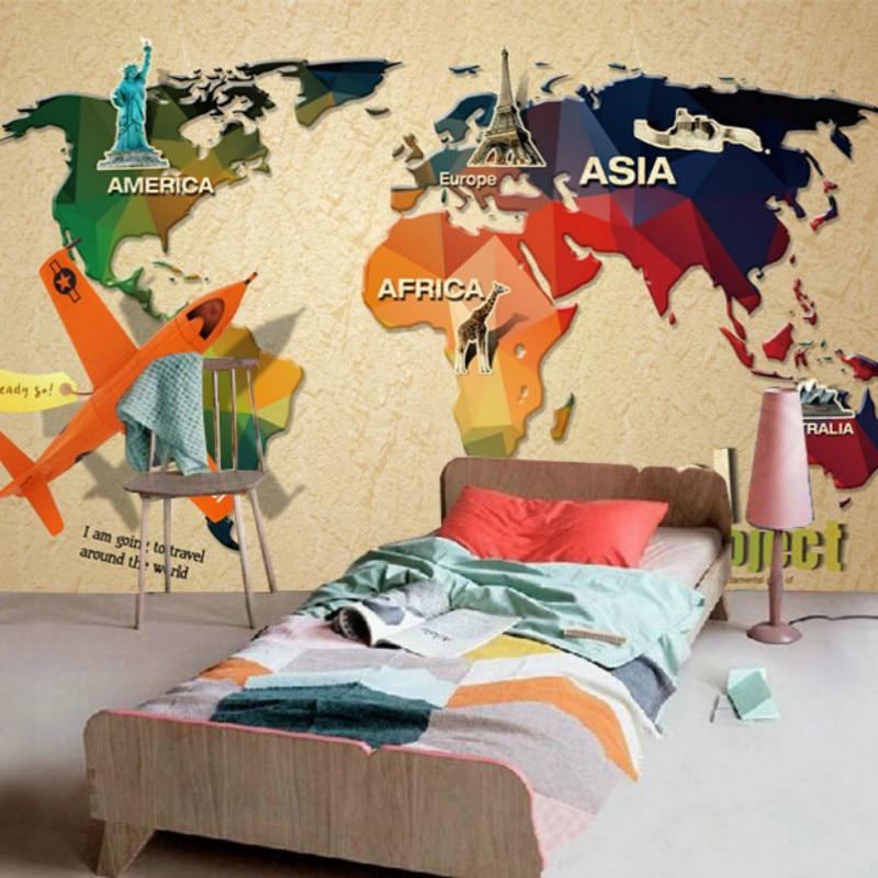Custom murals bedroom children's room 3D wallpaper background 3D wallpaper murals boy around travel map