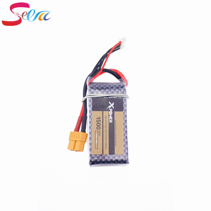 1pcs Xpower LiPo Battery 11.1V 1500Mah 3S 40C XT60/T Plug For RC Car Airplane WLtoys V950 Helicopter Part