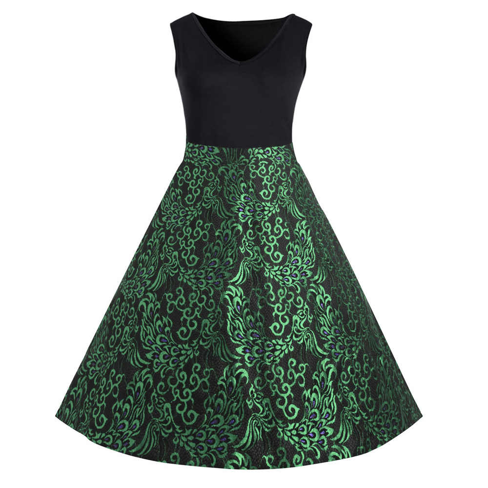 Plus Size Nữ ĐầM Midi 1950 Vintage Mùa Hè XL ~ 5XL Cotton Không Tay Áo Dài Cách Tân Đảng Xoay Feminino vestidos