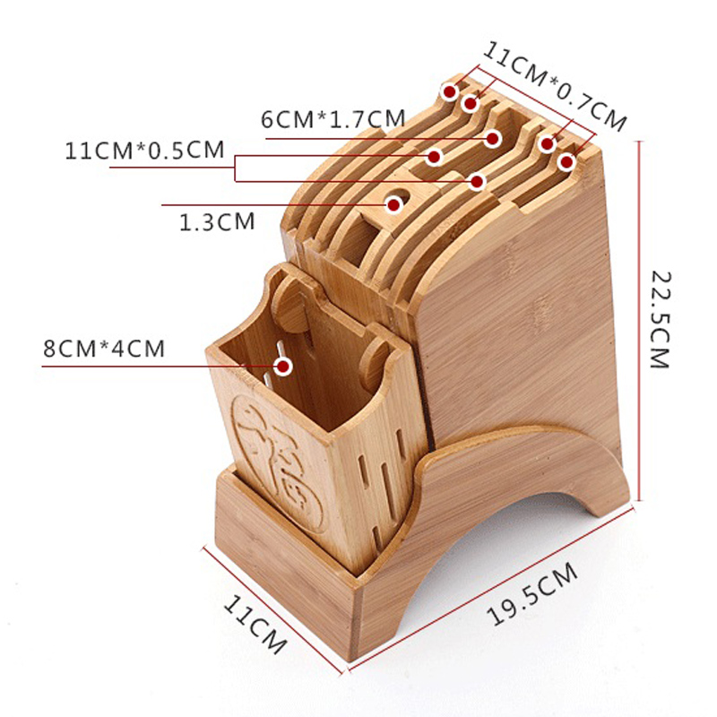 Creative Kitchen Wood Knife Holder For Chopsticks Fork Scissors Storage Box Bamboo Knife Block Stand Cooking Tool 4