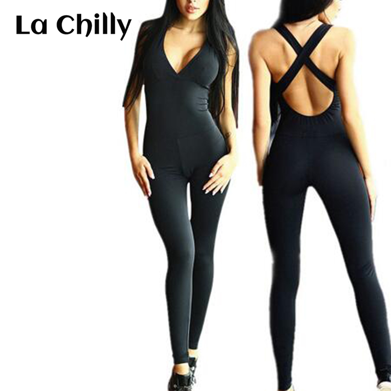 Rompers Womens Jumpsuit Sexy Deep V Elastic Jumpsuits Sportswear Overalls Backless Bodysuit Macacao Barboteuses Femmes Salopette