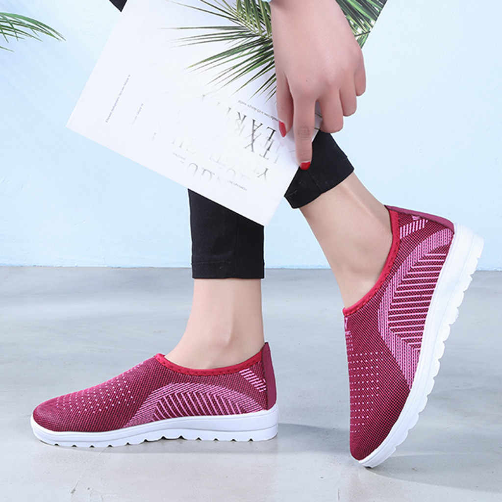 Lưu Hóa Giày Mùa Thu Lưới Phẳng Cho Nữ Plus Bông Đế Phẳng Thường Đi Bộ Sọc Giày Cho Nữ