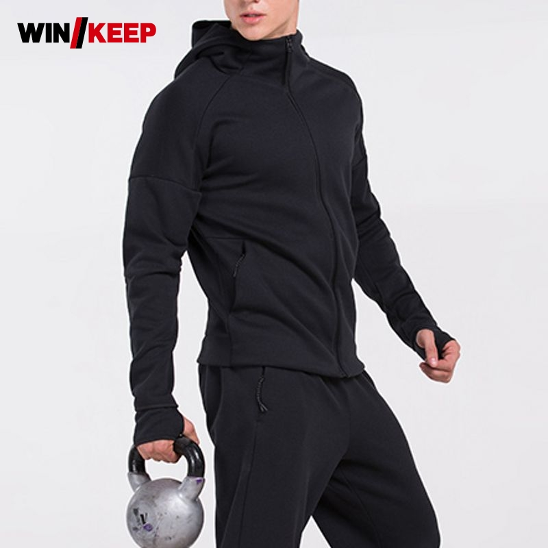 New Mens Trainning Exercise Sets Jacket Hoodies And Pants Outdoor Sport Clothing Windproof Thermal Sportswear Male Size M-XXL