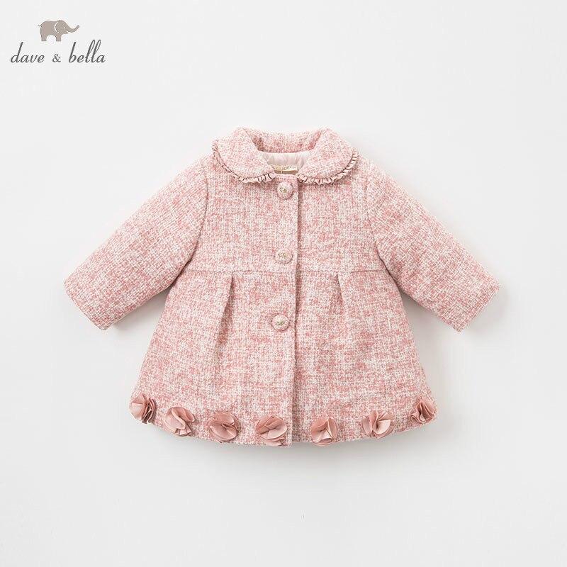 DBJ8773 dave bella baby girls jacket children long sleeve outerwear fashion wool coat