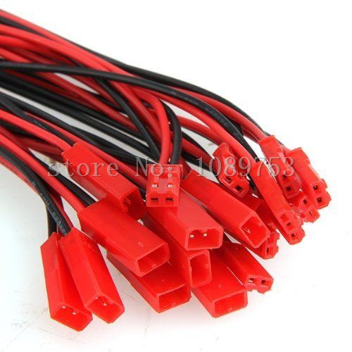100 Pairs 100mm JST Connector Plug Cable Male+Female for RC Battery PS