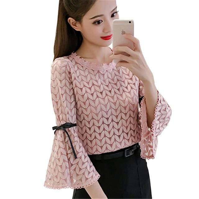 facccee9b9cd66 Women Spring Autumn Fashion Elegant Lace Patchwork Chiffon Blouse Three  Quarter Sleeve Tops Women New Sexy Loose Clothing Shirt