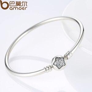 Image 2 - BAMOER autentyczne 100% 925 srebrny łańcuszek żmijka łańcuch bransoletka i bransoletka Pave gwiazda cyrkonia CZ DIY biżuteria
