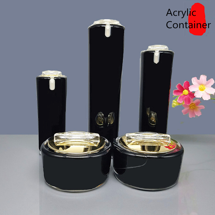 Фото 10pcs High Quality Light Black Gold Acrylic Cream Jar Cosmetic Bottle Container Jar Acrylic Lotion Pump Bottle 30g 50g 30ml 50ml