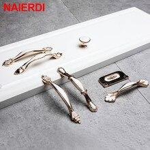 NAIERDI белые керамические европейские ручки для шкафа, двери из алюминиевого сплава, кухонные ручки, ручки для выдвижных ящиков, ручка для шкафа