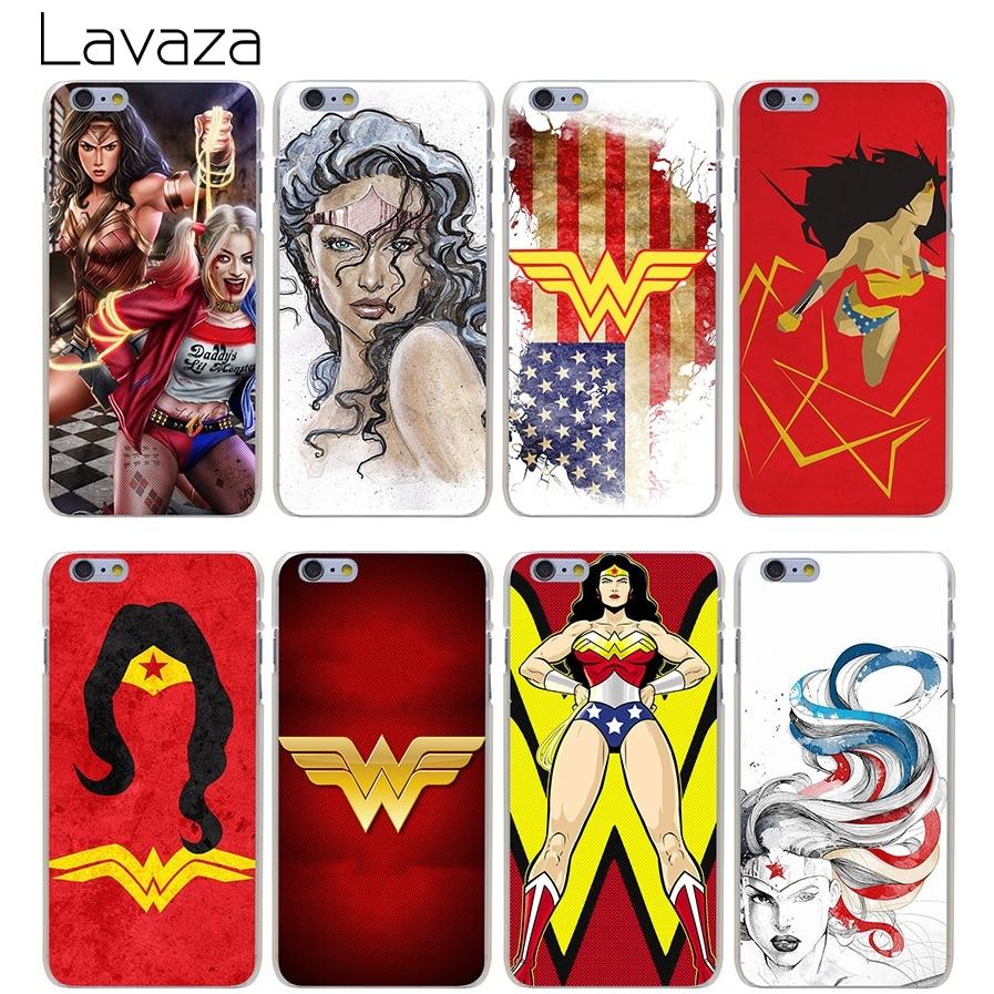 Lavaza Mobile Phone Cases Wonder Woman DC Superhero Hard Transparent Cover Case for iPhone X 10 8 7 6 6S Plus 5 5S SE 5C 4 4S