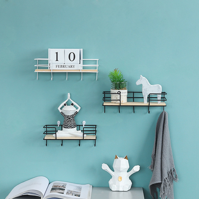 New Nordic Style Scandinavian 1PC Metal Wall Shelf With Hooks Nordic Wall Decor Shelf Kids Room Decor Organizer Storage Holders