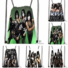 Custom Kiss Rock Band Monster Style  Drawstring Backpack Bag Cute Daypack Kids Satchel (Black Back) 31x40cm#180531-02-46