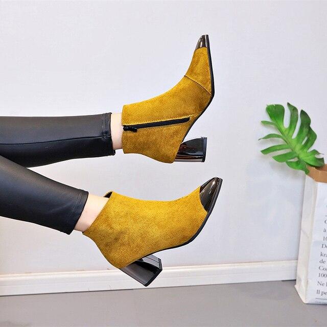 Mulheres Sapatos de Salto Quadrado Primavera Outono Velo Amarelo Preto Vermelho Botas Ponto Toe 6 cm Tornozelo Martin Sapatos Femininos Senhora moda